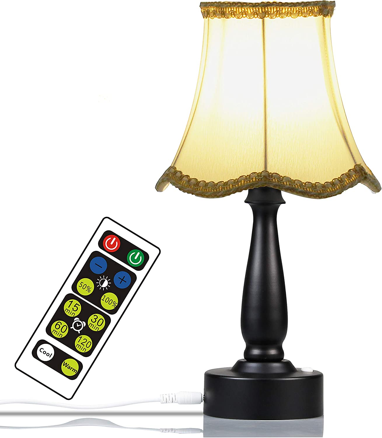 WRalwaysLX USB Power Small Table Lamp with Remote Control,Warm&Cold 2W LED,Dimmable Beside Desk Lamps with Built in Bulb, Best for Bedroom, Office, Living Room with Plastic Base and Fabric Shade
