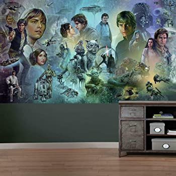 Roommates Star Wars The Rise Of Skywalker Peel And Stick Wallpaper Mural Removable Blue Orange Wall Mural Amazon Com