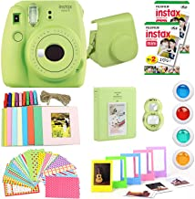 Fujifilm Instax Mini 9 Instant Camera(Certified Refurbished) + Fuji Instax Film (40 Sheets) + Carrying Case, Photo Album, Stickers, Close Up Lens + More (Lime Green)