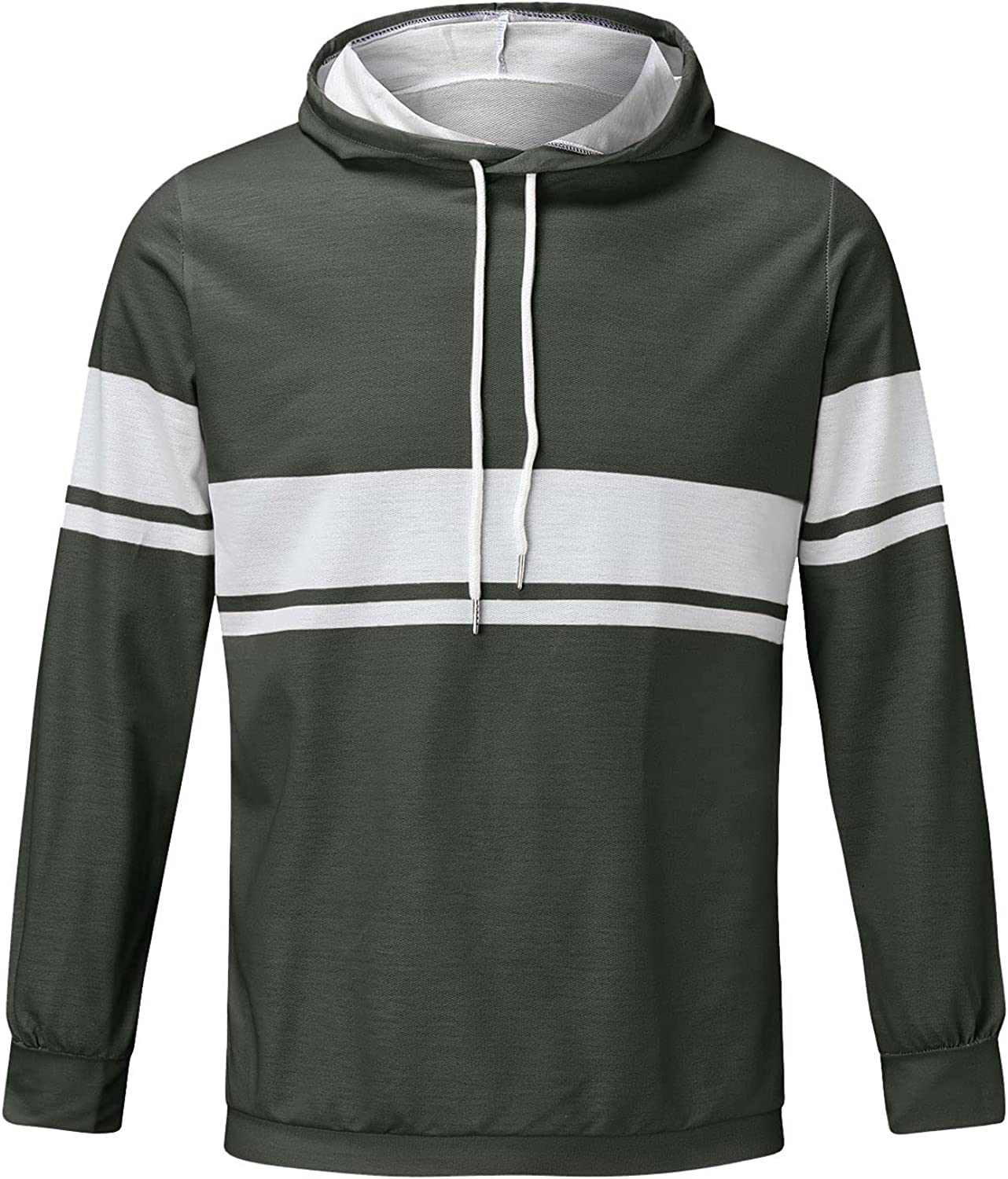 Men's Long Sleeve Tops Plus Size Workout Drawstring Pullover Sweatshirt Casual Loose Hooded Sports Outwear with Pockets