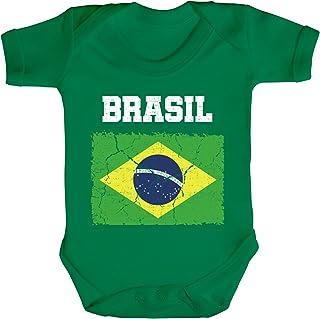 ShirtStreet Brazil Brasilien Fußball WM Fanfest Gruppen Fan Strampler Bio Baumwoll Baby Body kurzarm Jungen Mädchen Wappen Brasil