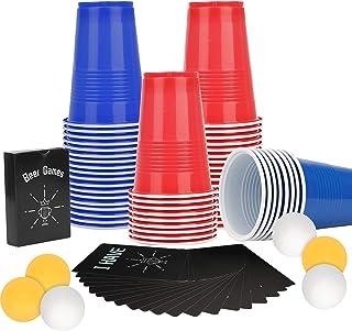 colmanda Jeux à Boire, 60 Beer Pong Cup + 6 Balles + 54 Cartes, Beer Pong Gobelets Beer Pong Set Beer Pong Tasses Bleues G...