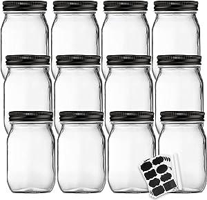 Glass Jars With Airtight Lids,Qappda Mason Jars 16 oz With Regular Lids,Food Storage Jars for Jam,Honey,Wedding Favors,Shower Favors,DIY Magnetic Spice Jars,Pickles Canning Jars 12PACK