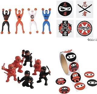 Just4fun Ninja Warrior Party Favors - 36 Tattoos - 12 Figures - 12 Wall Crawlers & 24 Stickers - Martial Arts - Karate Classroom Prizes