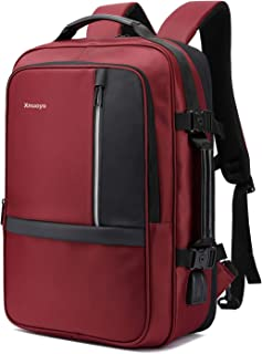 Xnuoyo Anti-Theft Convertible Laptop Backpack Briefcase  17 3 Inch Expandable TSA Friendly Water-Resistant Travel Rucksack with with USB Charging Port Earphone Port for Men and Women  Dark Red