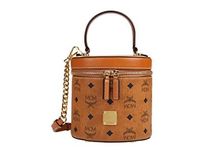 MCM Cylinder Visetos Crossbody Small (Cognac) Bags