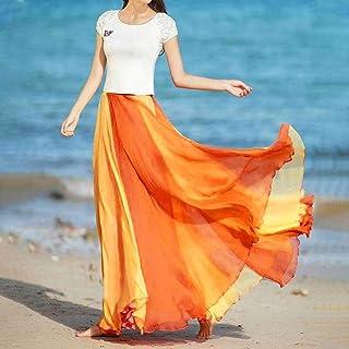 ZJMIYJ Kjolar för kvinnor – bohemiskt lappverk elastisk midja strandkjolar semester avslappnad lös solklänning kvinnor som...