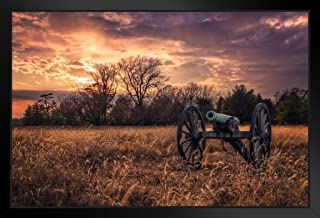 Civil War Cannon at Sunset Photo Black Wood Framed Art Poster 20x14
