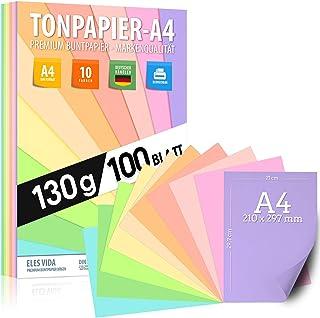 Papier à dessin au pastel DIN A4-100 feuilles - 130 g - 10 couleurs - Papier uni - Feuilles pastel colorées pour l'école, ...
