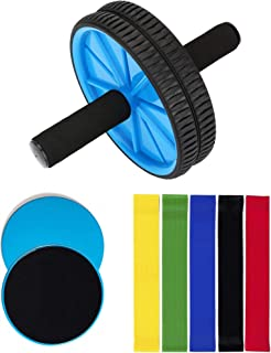 OLIVIA & AIDEN Ab Roller, Core Sliders, and Exercise Resistance Bands (8-Piece Set) Ultimate Workout and Abdominal Fitness Pack | Home Gym Training Equipment