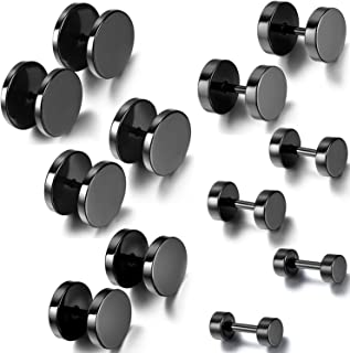 12PCS 6 Pairs 4-14mm Stainless Steel Black Tapers Cheater Faux Fake Ear Plugs Gauges Stud Earrings Set