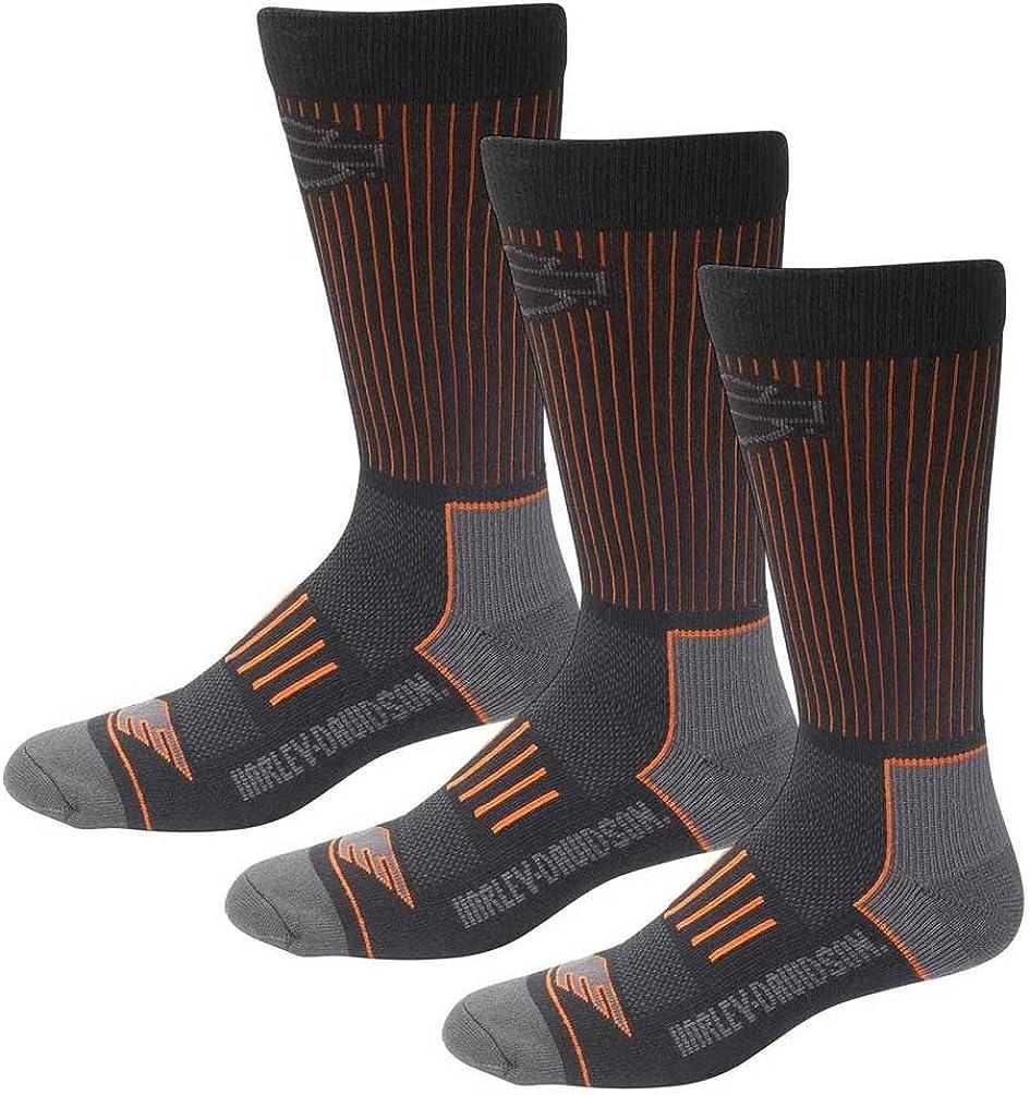 Harley-Davidson Men's Compression Coolmax Riding Socks, 3 Pairs D99219070-001
