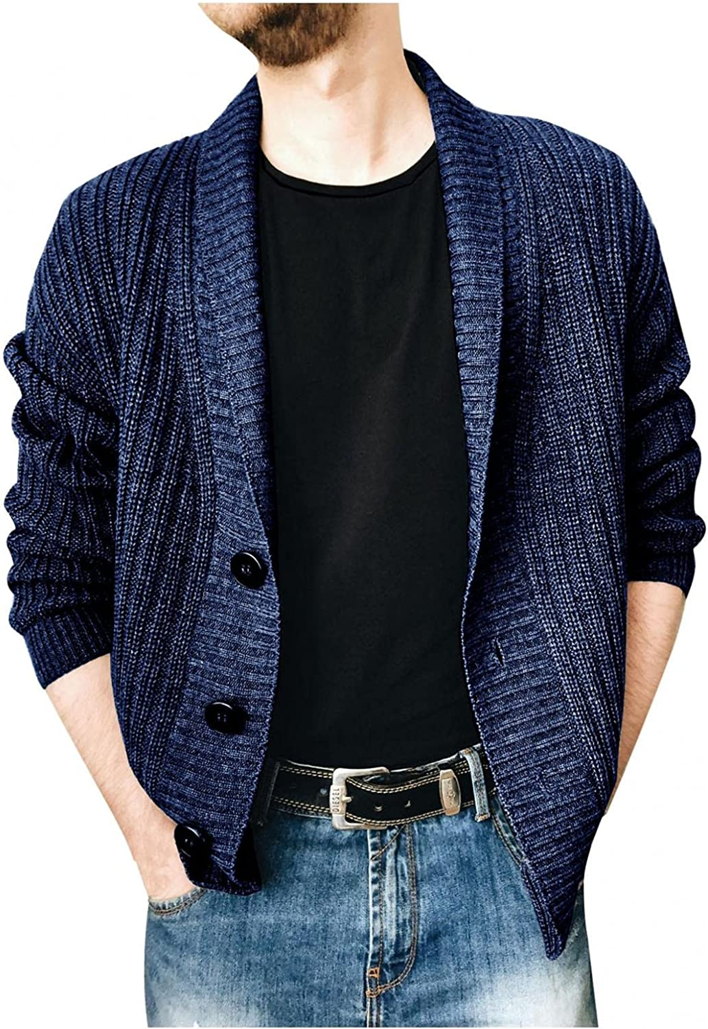 Men's Collar Cable Knitted Cardigan SweaterLightweight Long Sleeve Solid Color Lapel Single-Breasted Coat