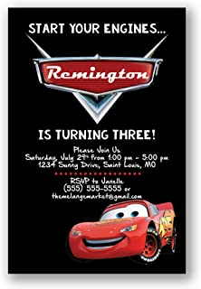 Custom Birthday Party Invitation - Lighting McQueen, Cars, Personalized (20 count)