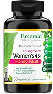 Women's 45+ 1-Daily Multi - Multivitamin with CoQ10, Vitamin K2 (MK-7) & Extra Calcium - Supports Healthy Heart, Strong Bones, Balanced Hormones, & More - Emerald Laboratories - 30 Vegetable Capsules
