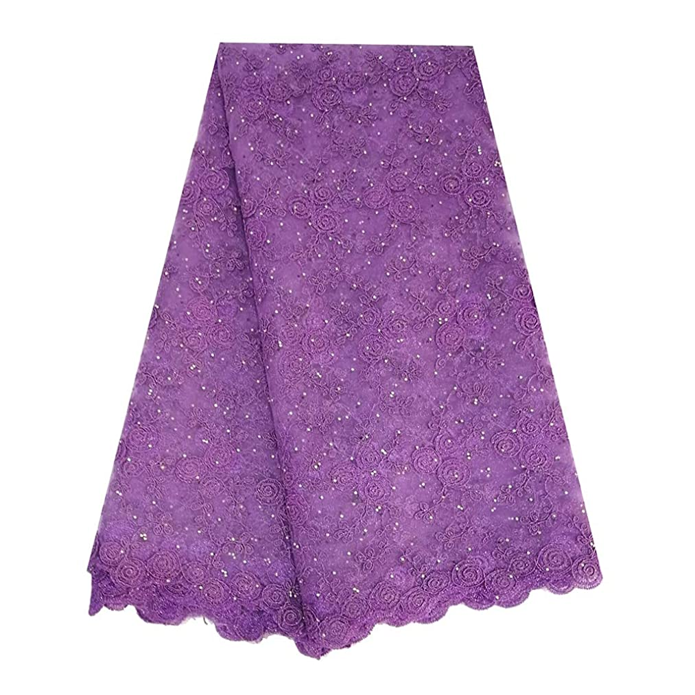 African lace Fabric 5 Yards Wholesale French lace Fabrics Rich Stones lace Fabric ZS764 (Lilac)