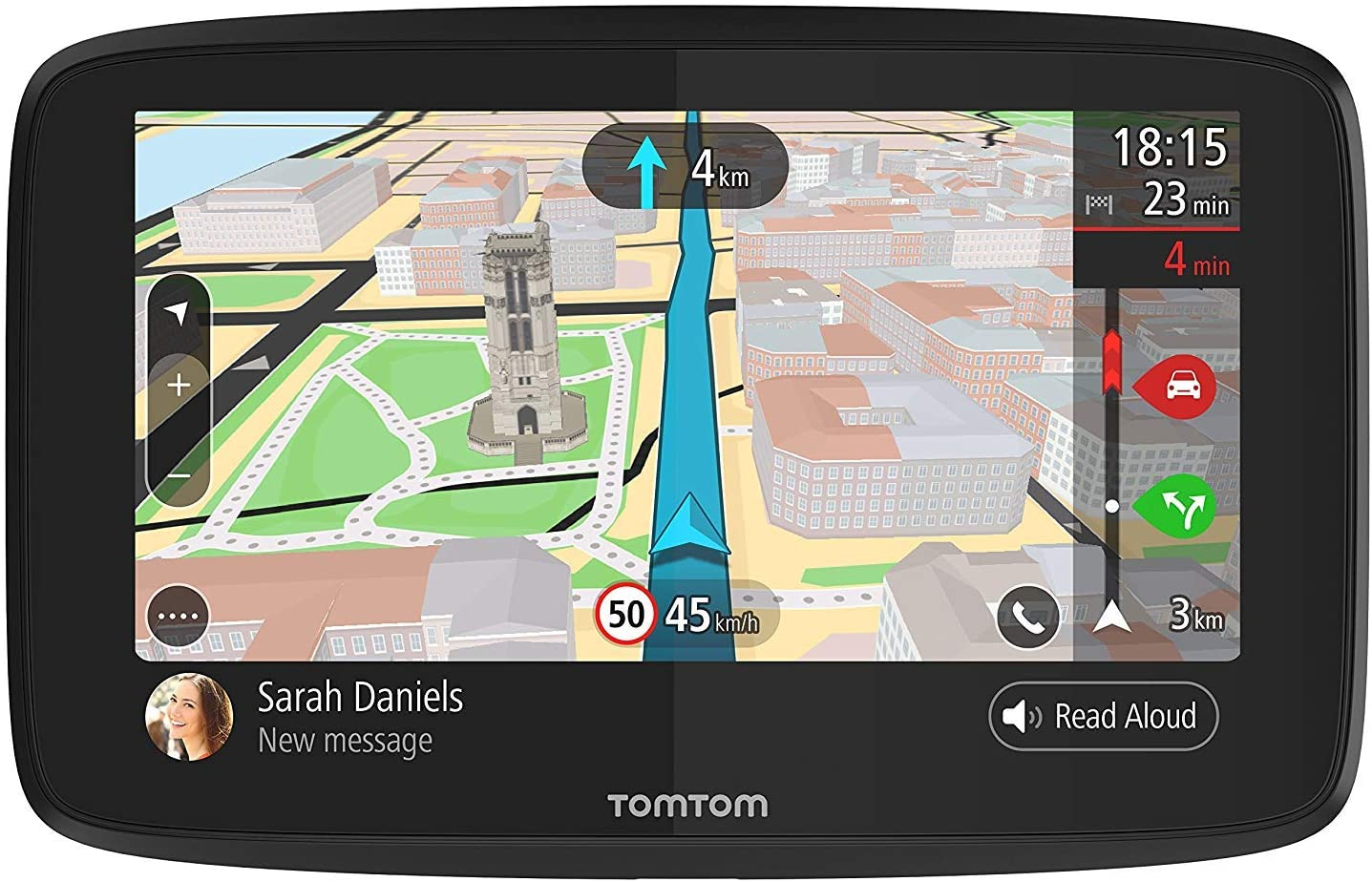 TomTom Go 52 5-Inch GPS Navigation Device with Wi-Fi, Real Time Traffic, Free Maps of North America, Siri and Google Now Compatibility, Hands-Free Calling and Smartphone Messaging