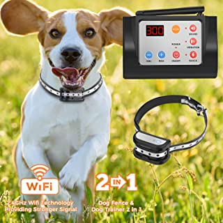 Hokita Dog Fence Wireless & Training & Training Collar Outdoor 2-in-1,Electric Pet Containment System,Waterproof Reflective Stripe Collar, Harmless for All Dogs