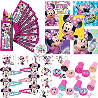 Minnie Mouse Happy Helper Party Favors Pack and Goodie Bag Fillers For 12 Guests With Minnie