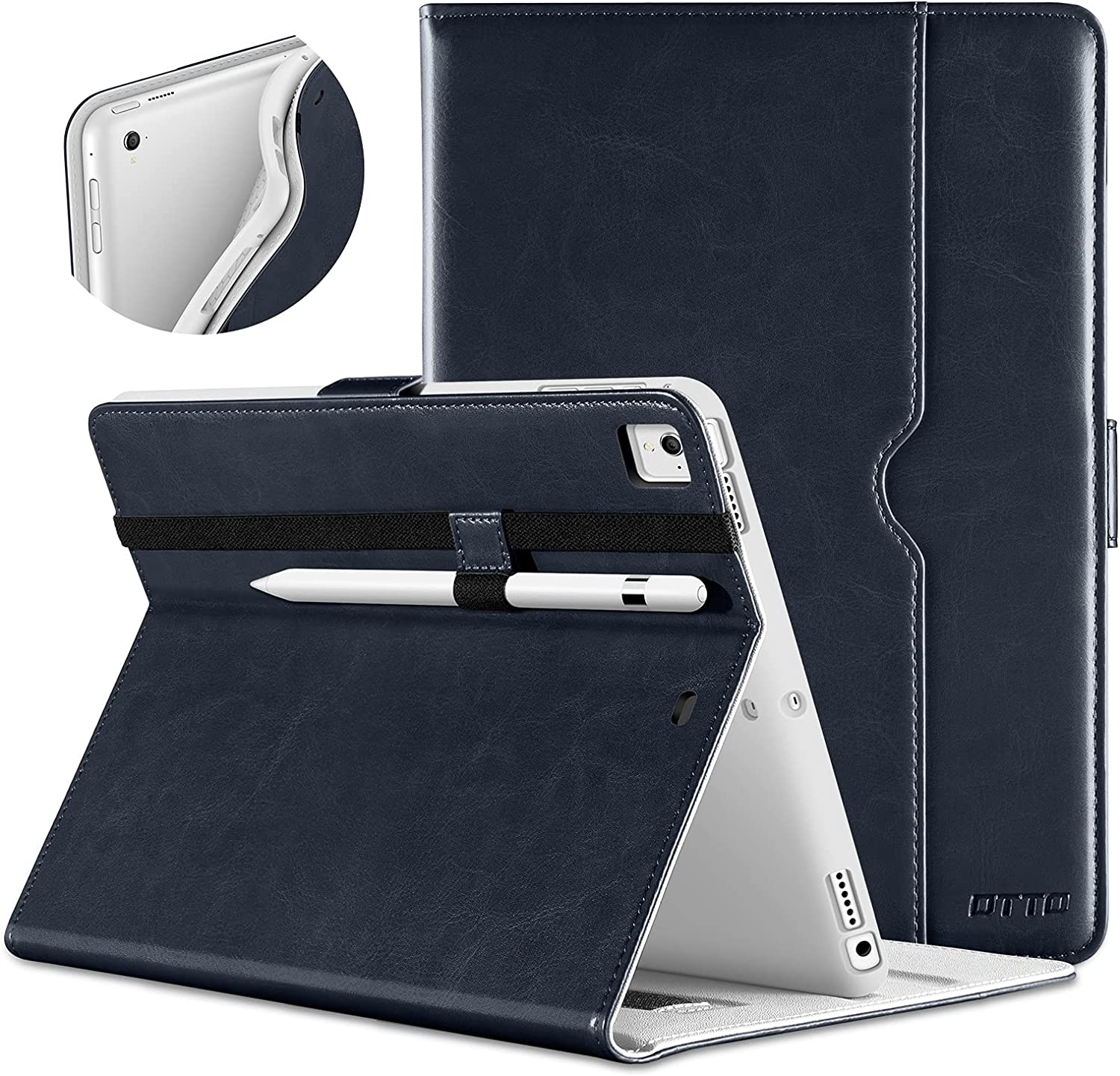 DTTO New iPad 9.7 Inch 5th/6th Generation 2018/2017 Case with Apple Pencil Holder, Premium Leather Folio Stand Cover Case for Apple iPad 9.7 inch, Also Fit iPad Pro 9.7/Air 2/Air - Blue(White Lining)
