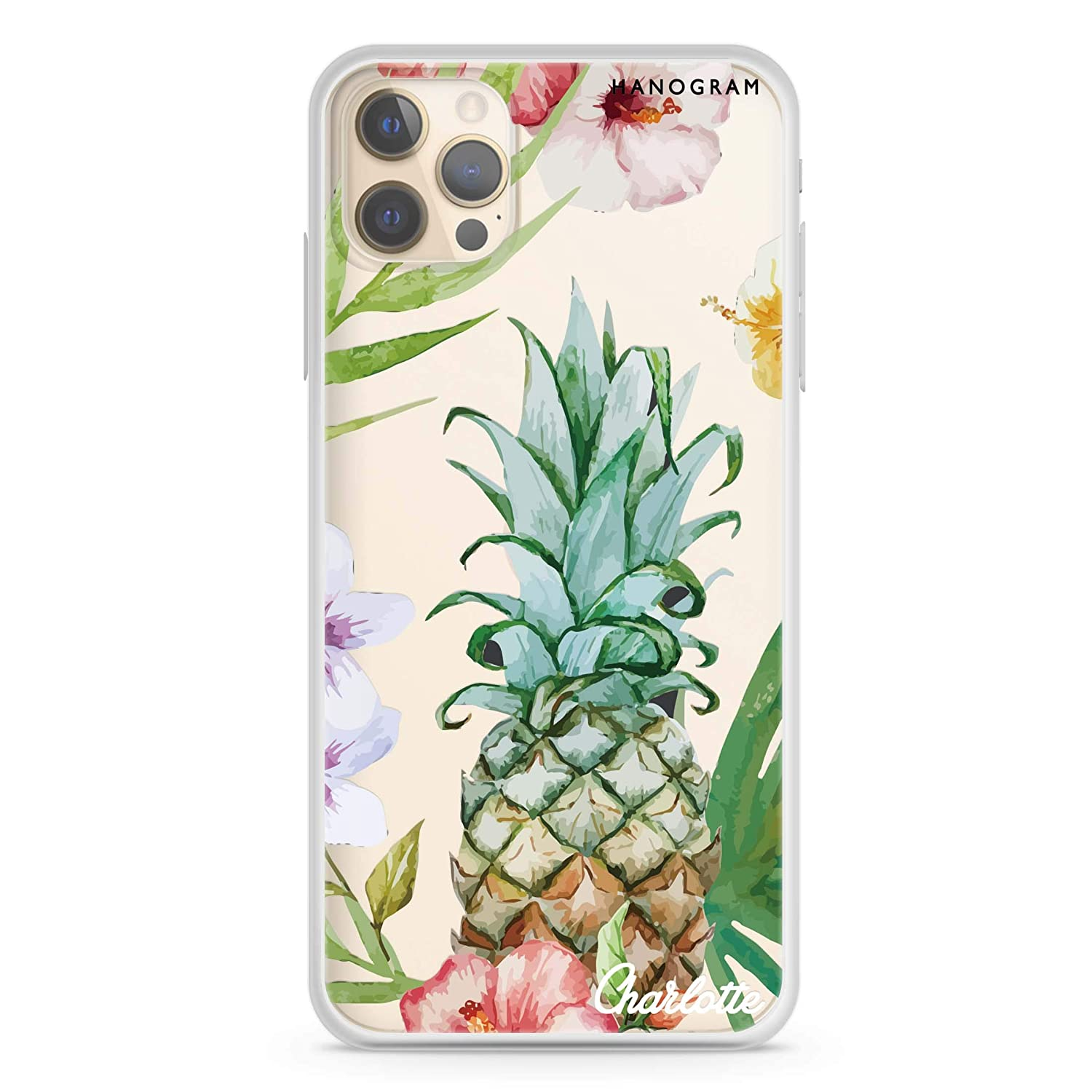 Pineapple Floral iPhone 12 Pro Clear Bargain sale Soft Case Raleigh Mall Max