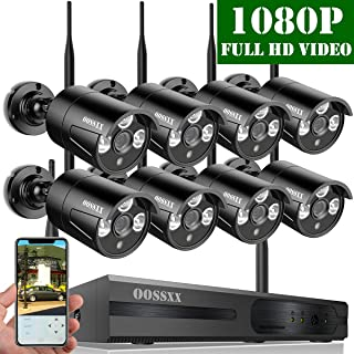 【2019 Update】 OOSSXX HD 1080P 8-Channel Wireless Security Camera System,8 pcs 1080P 2.0Megapixel Wireless Weatherproof Bullet IP Cameras,Plug Play,70FT Night Vision,P2P,App, No Hard Drive