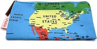 LParkin Map Pencil Case Large Capacity Canvas Pencil Case Pen Bag Pouch Stationary Case Makeup Cosmetic Bag (Map)