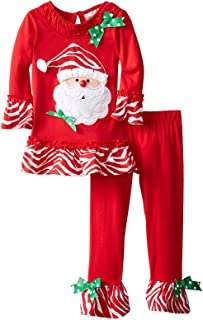 Image of A Christmas Favorite: Stylish Red Ruffle Santa Claus Pajamas for Girls and Toddlers