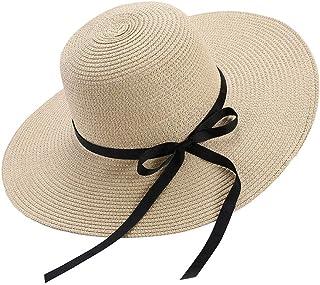 قبعة شمس للنساء مرنة قابلة للطي بفيونكة من القش قبعة الصيف شاطئ