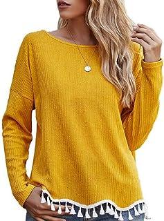GUOCAI Womens Fashion Tassel Tops Long Sleeve Crewneck T-shirt Blouse