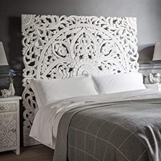 Queen Size Boho Carved Wood Bed Headboard Hand Sculpted Wall Art Hanging from Chiang Mai Thailand 60x60 Inches