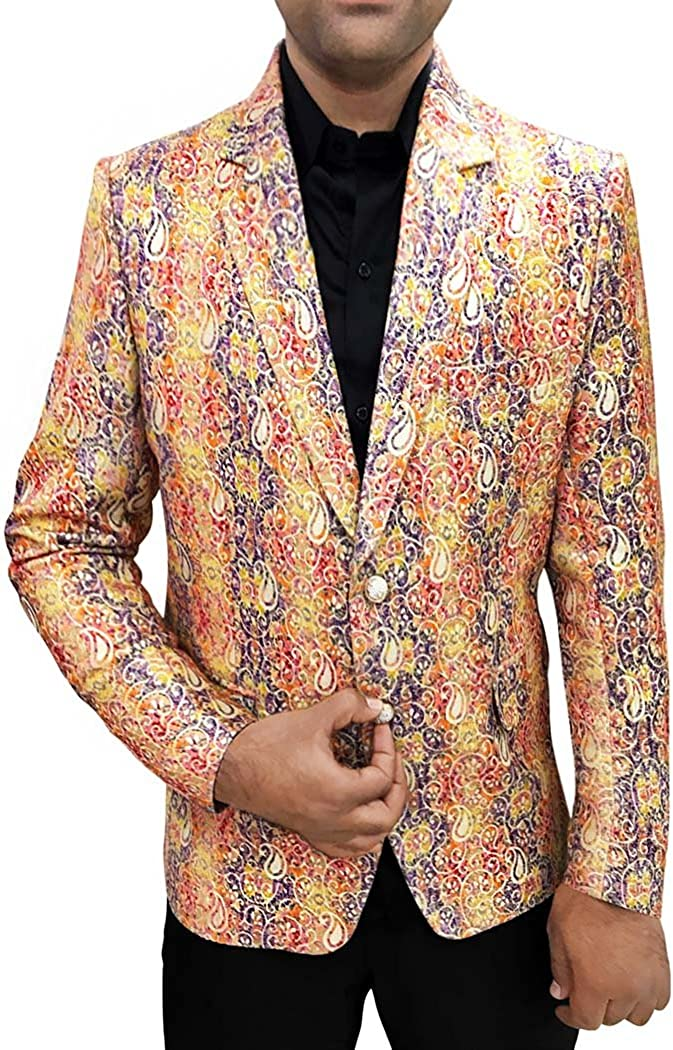 INMONARCH Mens Slim fit Casual Yellow and Blue Jute Silk Blazer Sport Jacket Coat Paisley SB80
