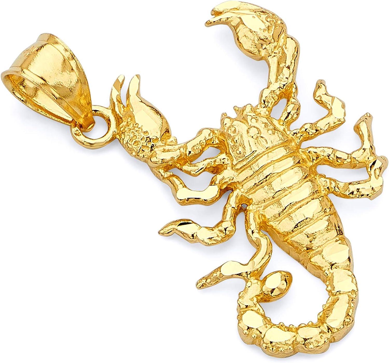 14k REAL Yellow Gold Scorpion Charm Pendant