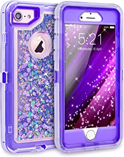 iPhone 8 Case, iPhone 7 Case, iPhone 6 Case, Dexnor Glitter 3D Bling Sparkle Flowing Liquid Case for Girls 3 in 1 TPU Silicone + PC Protective Shockproof Defender Cover for iPhone 8/7/6s/6 - Purple