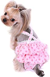 PetBoBo Female Dog Doggie Diapers Sanitary Pantie Pant Washable Reusable Dog Diapers Wrap for Small Medium Pet Dogs