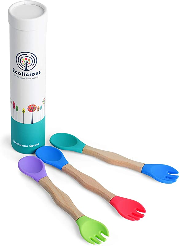 Food Grade Silicone Spoon Fork For Babies And Toddlers Non Toxic Eco Friendly Feeding Sporks Made From BPA Free Silicone And Sturdy Beech Wood 3 Set