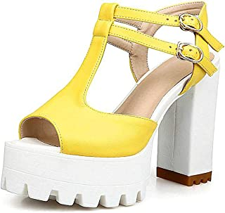 T-Strap Women Sandals Fashion Square High Heel Peep Toe Platform Shoes for Summer Woman,Yellow,7.5