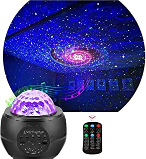 QingHong Night Light Projector ,Star Projector ,LED Galaxy Ocean Wave Projector Bluetooth Music Speaker for Baby Bedroom,G...
