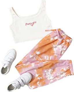 Romwe Girl's 2 Pieces Outfit Tie Dye Crop Tank Tops and Pant Set Clothing Set