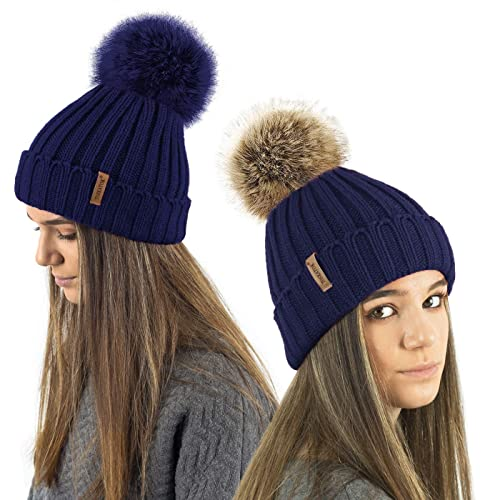 TOSKATOK® Ladies Girls Chunky 3 in 1 Rib Beanie Hat with 2 Interchangeable  Large Faux 39affa75533a