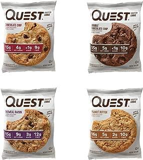 Quest Nutrition galletas de proteína paquete variado (patatas fritas de chocolate, chocolate doble, manteca de cacahuete y pasas de avena). Barra de repuesto de comida con 15 g de proteína. Alta fibra, sin gluten. (12 unidades)