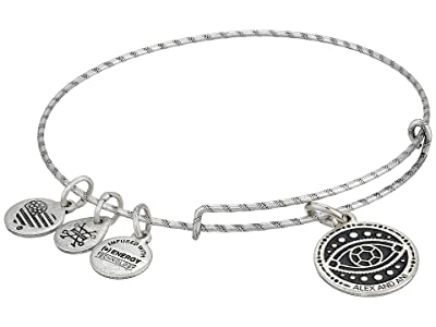 Alex and Ani Embossed Paint Charm Evil Eye Charm Bangle (Rafaelian Silver) Bracelet