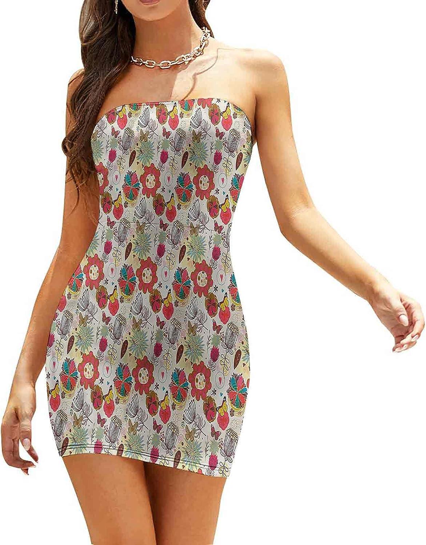 Women's Summer Strapless Dresses Brushstroke Petals Roses Dresses