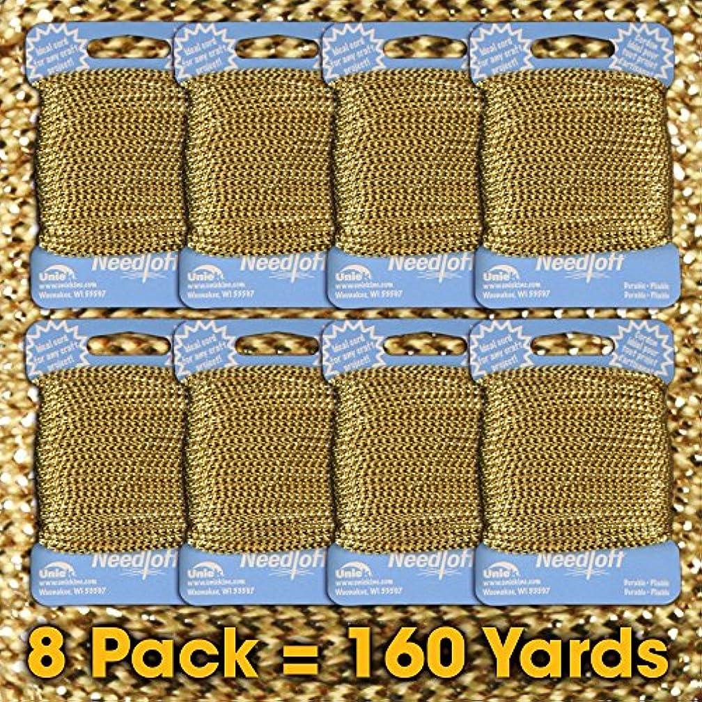 #01 Metallic Gold - Needloft Craft Cord 8 Pack 160 Yards (8x20yds)