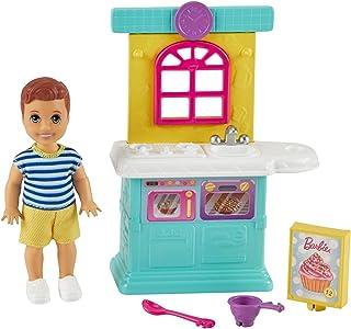 Barbie Famille Skipper baby-sitter coffret Jouons à Cuisiner avec mini-poupée garçon, éléments de cuisine et accessoires, ...