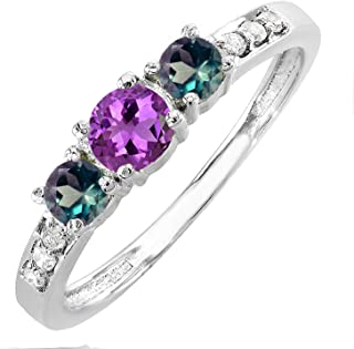 5 MM Round Amethyst and Side Diamond(Natural) and 4 MM Lab Created Alexandrite Three Stone Engagement Ring, 18K Gold