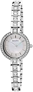 Women's 96L209XG Quartz Crystal Accents Mother of Pearl 21mm Bangle Watch (Renewed)