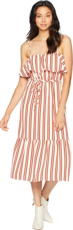 Bold Stripe Ruffle Midi Dress