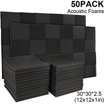 """50 Pack Acoustic Panels Soundproof Studio Foam for Walls Sound Absorbing Panels Sound Insulation Panels Wedge for Home Studio Ceiling, 1"""" X 12"""" X 12"""", Black (50PCS Black)"""