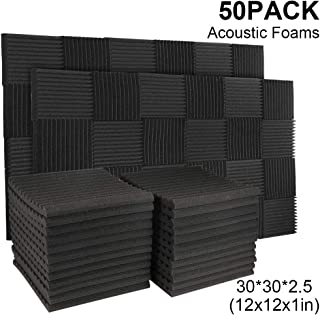 50 Pack Acoustic Panels Soundproof Studio Foam for Walls Sound Absorbing Panels Sound Insulation Panels Wedge for Home Studio Ceiling, 1